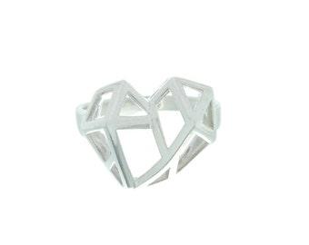 Geometric Heart Ring, Sterling Silver Heart Ring, Geometric Ring, Boho Ring,
