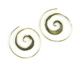Small Spiral Earrings, Spiral Brass Earrings, Swirl Earrings, Tribal Earrings, Festival Jewelry, Gypsy Earrings, Ethnic, Yoga