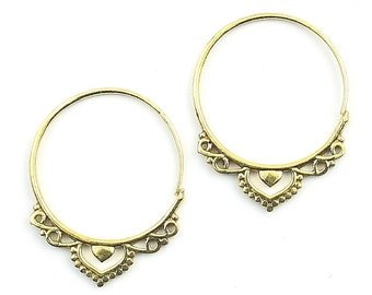 Mirpur Earrings, Ornate Ethnic Earrings, Tribal Brass Earrings, Festival Earrings, Gypsy Earrings, Hoop Earrings