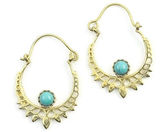 Dera Turquoise Earrings, Turquoise Earrings, Gemstone Jewelry, Mandala, Boho Jewelry, Festival Earrings, Gypsy Earrings, Ethnic Earrings