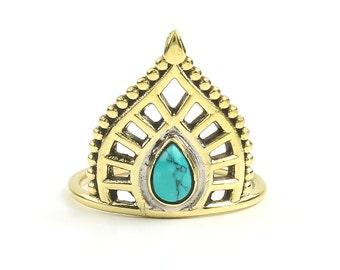 Turquoise paisley Brass Ring, Brass Turquoise Ring, Stone Jewelry, Gemstone, Southwestern, Boho, Gypsy, Ethnic, Hippie, Spiritual