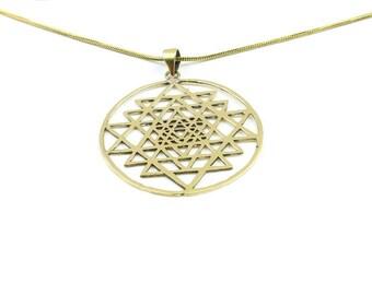 Sri Yantra brass necklace, Sacred Geometry necklace, Geometric power necklace