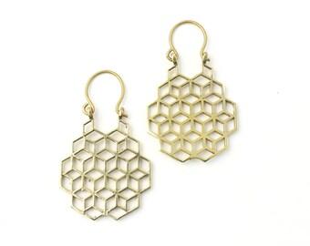 Sacred Geometry Earrings, Honeycomb, Geometric Earrings, Alchemy Earrings, Modern Earrings, Festival, Gypsy Earrings, Ethnic,