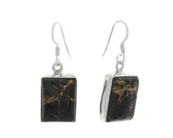 Copper Night Earrings, Sterling Silver black copper onyx Earrings, Ethnic Earrings