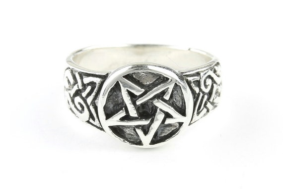 Pentagram Star Ring, Sterling Silver Pentacle Ring, 925, Star Ring, Celtic, Boho, Gypsy, Wicca, Wiccan, Festival Jewelry, Spiritual