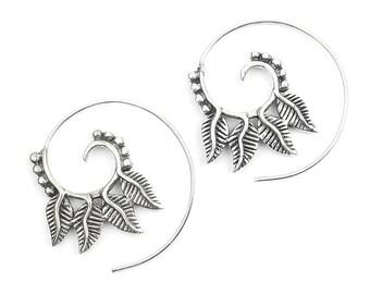 Spiral Feather Earrings, Leaf earrings, Brass Earrings, Swirl Earrings, Tribal Earrings, Festival Jewelry, Gypsy Earrings, Ethnic, Yoga