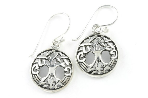 Celtic Tree of Life Earrings, Sterling Silver Tree Earrings, Boho, Festival Jewelry, Gypsy, Hippie Jewelry, Spiritual