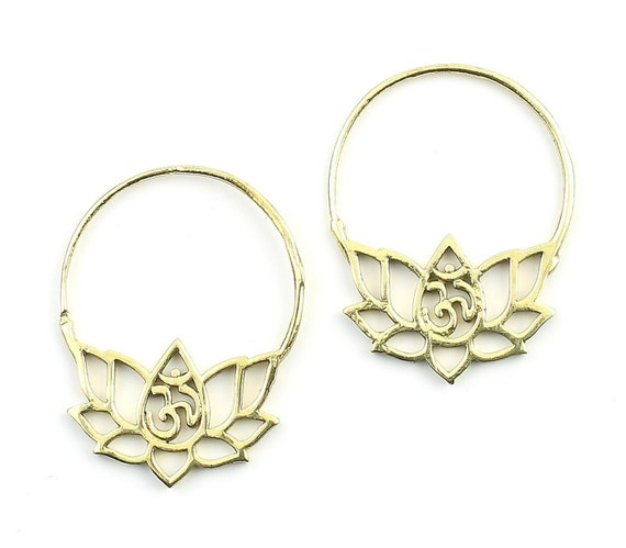 Lotus Earrings, Om Earrings, Ornate Ethnic Earrings, Tribal Brass Earrings, Festival Earrings, Gypsy Earrings, Hoop Earrings