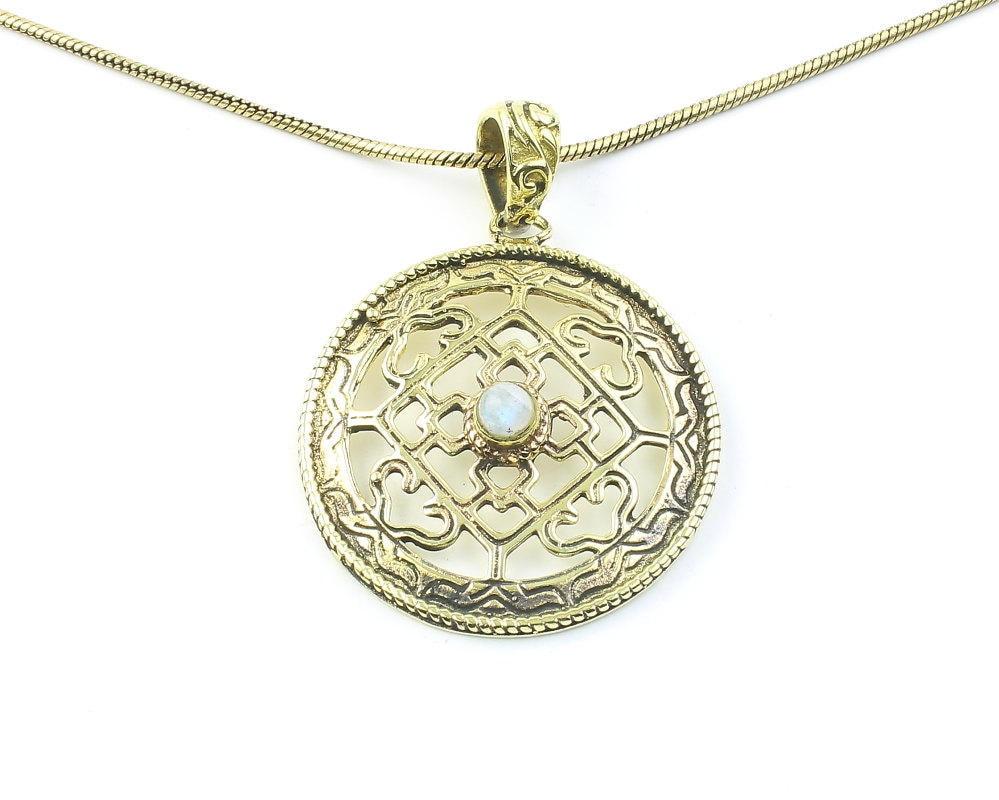 Celtic Moonstone Necklace Geometric Pendant Rainbow | Etsy