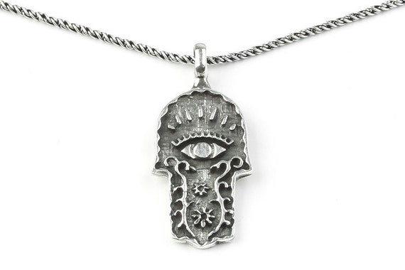 Sterling Silver Hamsa necklace, evil eye necklace, hand of fatima necklace, Middle Eastern, Hand, Eyptian