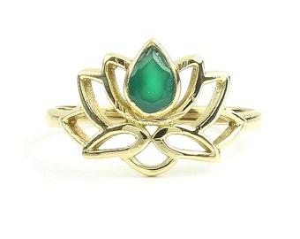 Brass Lotus Ring, Mandala Ring, Green Chalcedony Ring, Yoga Jewelry, Tribal, Ethnic Ring, Gypsy, Hippie Jewelry, Festival Jewelry, Boho