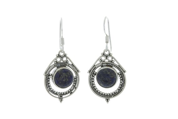 Eastern Lapis Earrings, Sterling Silver Lapis Earrings, Indian Earrings, Ethnic Earrings