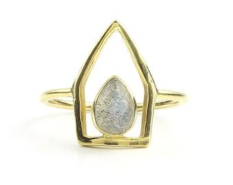 Telangana Ring, Labradorite Brass Ring, Meditation, Yoga Jewelry, Tribal, Ethnic Ring, Gypsy, Hippie Jewelry, Festival Jewelry