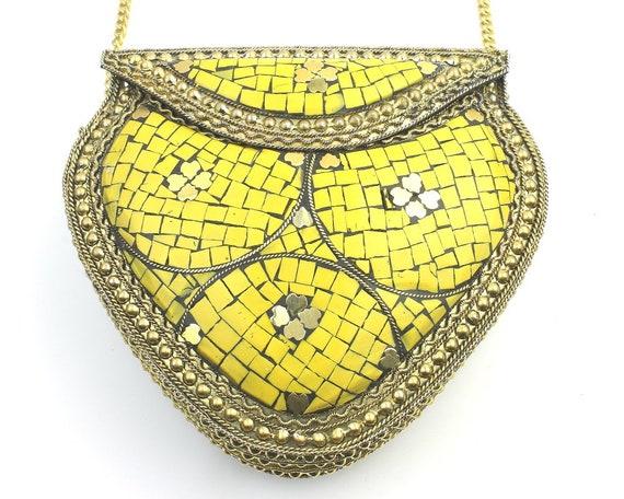 Raphana Clutch, Vintage Stone Purse, Ornate brass bag, Metal Purse, Antique Bag, Gold Purse, Boho, Gypsy, Cigarette Case