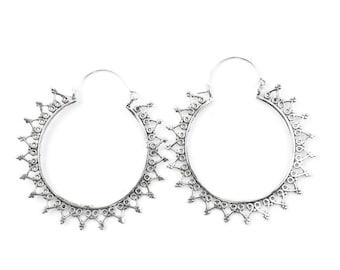 Dumai Earrings, Large Ornate Ethnic Hoop Earrings, Tribal Brass Earrings, Festival Earrings, Gypsy Earrings