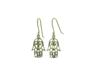 Brass Hamsa Earrings, Brass Earrings, Hand of Fatima Earrings, Gypsy Earrings, Ethnic Earrings