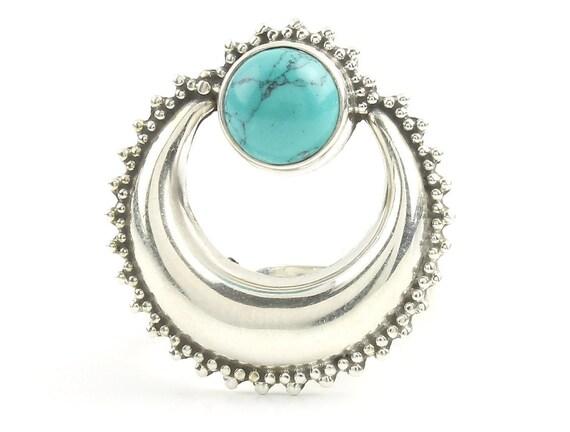 Moonrise Turquoise Ring, Sterling Silver Turquoise Ring, Moon Ring, Stone Jewelry, Gemstone, Southwestern, Boho, Gypsy, Ethnic, Spiritual