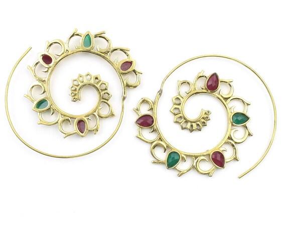 Asyut Earrings, Spiral Mandala Stone Earrings, Swirl Earrings, Tribal Earrings, Festival Jewelry, Gypsy Earrings, Ethnic, Yoga