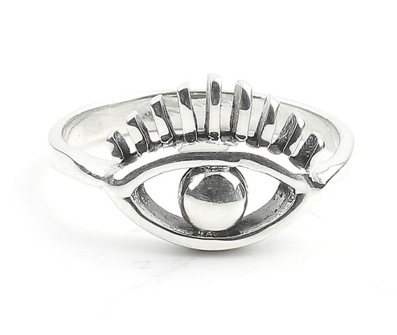 Eye Ring, Sterling Silver Eye Ring, Evil Eye Ring, Stacking Ring, Boho, Bohemian, Hippie, Gypsy, Festival Jewelry