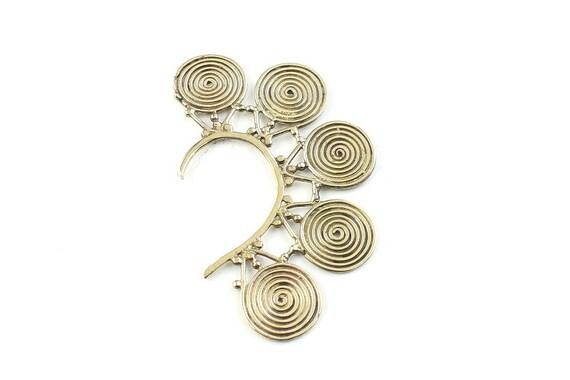 Golden Spiral Ear Wrap, Ear Cuff, Boho Jewelry, Tribal Ear Jewelry,  Festival Jewelry, Gypsy, Ethnic, Hippie Jewelry