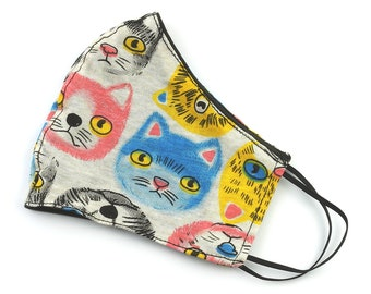 Cat Face Mask, washable face mask, reusable face mask, cotton fabric face mask, cloth, comfortable fit, 2 layer,USA shipping next day