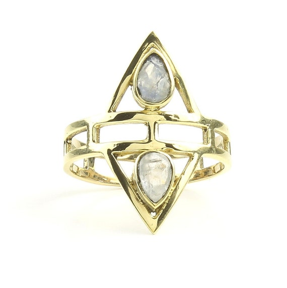 Malegoan Ring, Brass Moonstone Ring , Meditation, Yoga Jewelry, Tribal, Ethnic Ring, Gypsy, Hippie Jewelry, Festival Jewelry, Boho