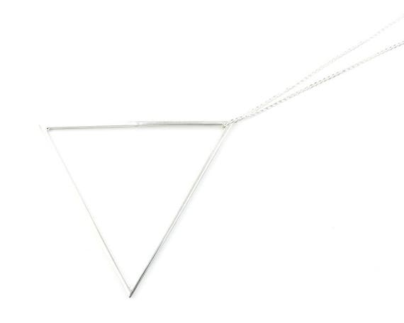 Sterling Silver LARGE Triangle Necklace, Large Geometric, Modern Jewelry, Minimal, Boho, Bohemian, Gypsy, Festival, Hippie