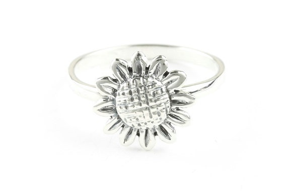 Sunflower Ring, Sterling Silver Flower Ring, 925, Boho, Gypsy, Festival Jewelry, Hippie Jewelry, Nature