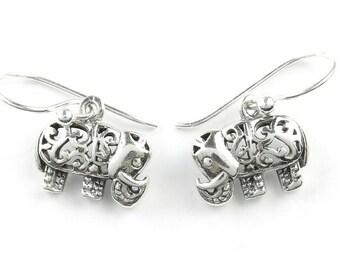 Mehndi Elephant Earrings, Sterling Silver Elephant Earrings, India Earrings, Boho, Festival Jewelry, Gypsy, Hippie Jewelry, Spiritual