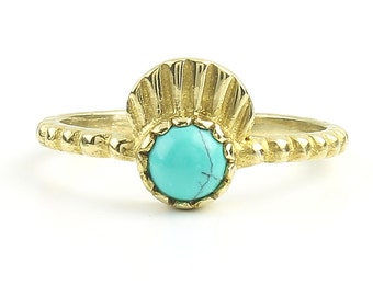 Ocean Turquoise Ring, Brass Turquoise Ring, Yoga Jewelry, Tribal, Ethnic Ring, Gypsy, Hippie Jewelry, Festival Jewelry, Boho