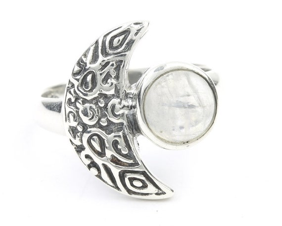 Moonstone Waning Ring, Sterling Silver Moon Ring, Stone Jewelry, Crescent Moon, Gemstone, Boho, Gypsy, Wiccan, Hippie Jewelry, Spiritual