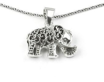 Sterling Silver Elephant Necklace, good luck charm, thai elephant, animal necklace, boho jewelry, gypsy jewelry