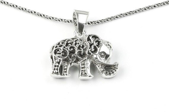 Sterling Silver Elephant Necklace, good luck charm, thai elephant, animal necklace, boho jewelry, gypsy jewelry