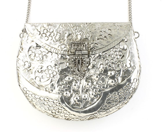 Ranga Clutch, Ornate Silver bag, Metal Purse, Antique Bag, Gold Purse, Boho, Gypsy, Cigarette Case