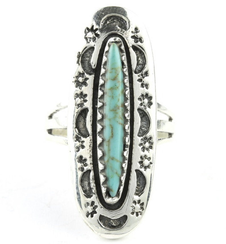 Rising Moon Turquoise Ring Sterling Silver Turquoise ring image 0