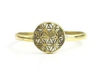 Brass Flower Of Life Ring, Sacred Geometry Ring, Bohemian, Boho, Gypsy, Festival, Yoga, Meditation Jewelry