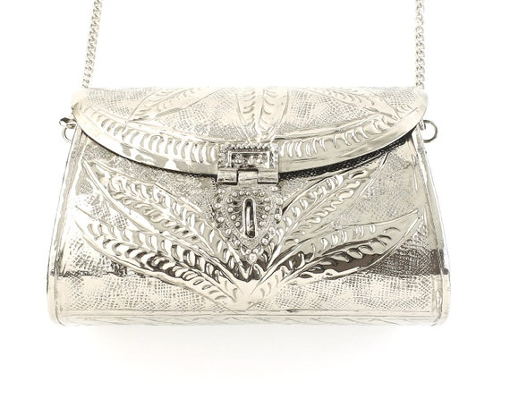 Gwali Clutch, Ornate Silver bag, Metal Purse, Antique Bag, Gold Purse, Boho, Gypsy, Cigarette Case