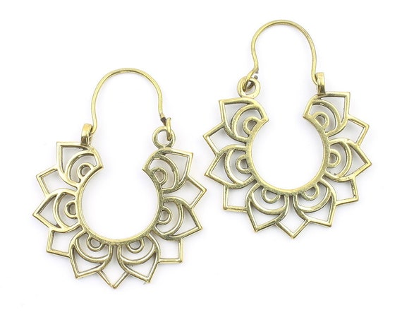 Banha Earrings, Mandala Earrings, Flower Earrings, Brass, Modern Earrings, Festival, Gypsy Earrings, Ethnic