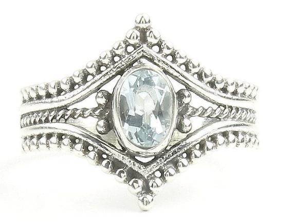 Marambaia Ring, Sterling Silver Aqua Marine Ring, Stone Jewelry, Ethnic, Gemstone, Boho, Gypsy, Wiccan, Hippie Jewelry, Spiritual