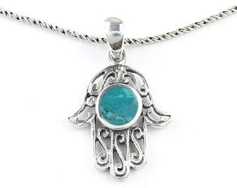 turquoise Hamsa Necklace, Sterling Silver Necklace, Hand of Fatima, Hand Necklace, Meditation, Spiritual, Festival, Hippie, Boho, Gemstone