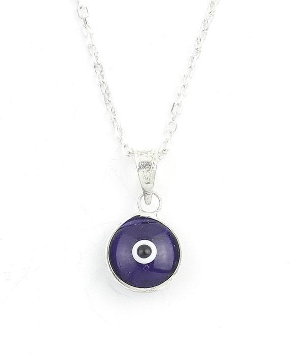 Evil Eye Necklace, Sterling Silver Eye Necklace, Blue Eye, Greek, Middle Eastern, Necklace, Meditation, Spiritual, Festival, Hippie, Boho