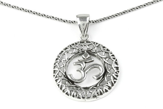 Sterling Silver Om Necklace, Yoga necklace, Meditation, Spirit, Festival, Hippie, Boho