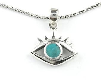 Evil Eye Necklace, Sterling Silver Eye Necklace, Turquoise Necklace, Meditation, Spiritual, Festival, Hippie, Boho, Gemstone
