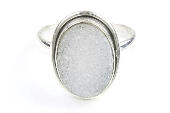 Desert Snow Ring, Sterling Silver Druzy Ring, Drusy Gemstone, Crystal Jewelry, Boho, Gypsy, Wiccan, Spiritual,Festival Jewelry
