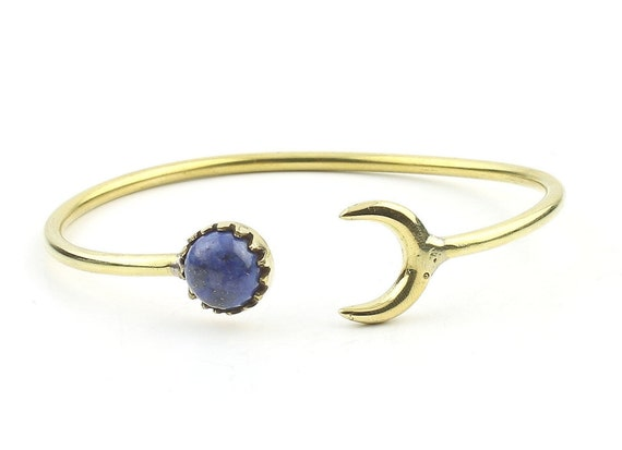 Moonstruck Brass Lapis Bracelet, Crescent Moon Bracelet, Lapis Lazuli, Stone Bangle, Lower Arm Cuff, Boho, Bohemian, Gypsy, Festival Jewelry