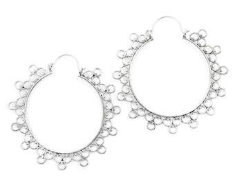 Large Mandala Brass Earrings, Large Hoop Earrings, Boho Earrings, Tribal Earrings, Festival Jewelry, Gypsy Earrings, Ethnic, Yoga
