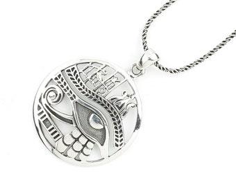 Sterling Silver Eye Of Ra Necklace, Eye Of Horus, Egpytian Jewelry, Spiritual, Boho, Gypsy, Festival, Hippie