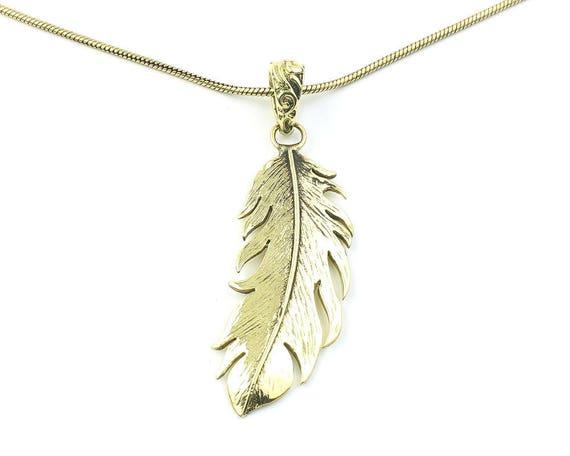 Boho Gypsy Necklace Brass Feather Pendant Necklace
