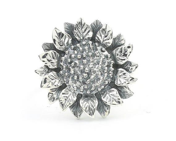 Sterling Silver Flower Ring Gypsy Festival Jewelry 925 Sunflower Ring Boho
