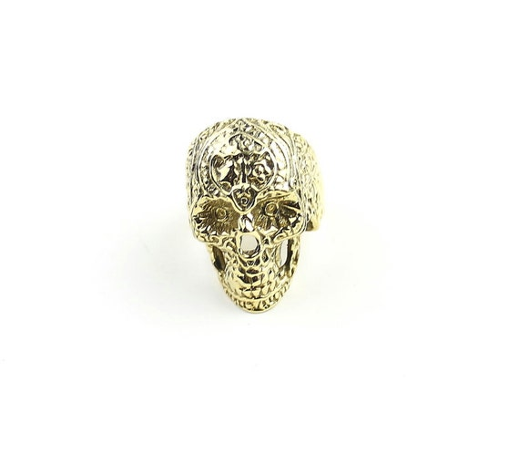 Sugar Skull Ring, Filigree Design Brass Ring, Gold Skull Ring, Mexican Sugar Skull, Ethnic Jewelry